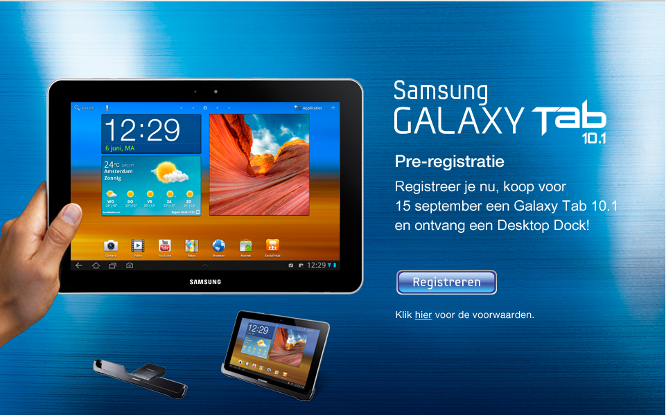 aktie samsung galaxy tab 10 1 gratis dock. Black Bedroom Furniture Sets. Home Design Ideas