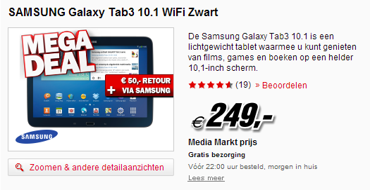 aanbieding samsung galaxy tab 3 10 1 199 bij mediamarkt en bcc. Black Bedroom Furniture Sets. Home Design Ideas